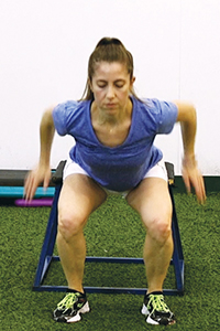 Woman demonstrates proper alignment to prevent knee injury