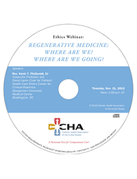 Regenerative Medicine: Where Are We? Where Are We Going? - Ethics Webinar Recording - November 21, 2013 (CD)
