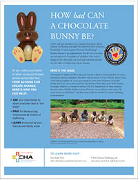 Human Trafficking Initiative - Easter-Themed Flyer About Cocoa Trade