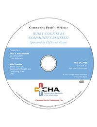 What Counts as Community Benefit? - Community Benefit Recorded Webinar - May 24, 2017 (CD)